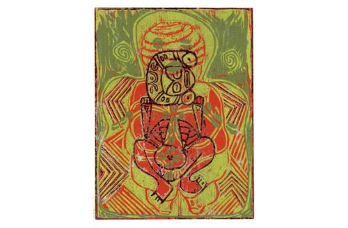 printmaking, paper, ink, drop print, Taino, African, European, Venus, four color print, Elegba, Yoruba, Puerto Rico