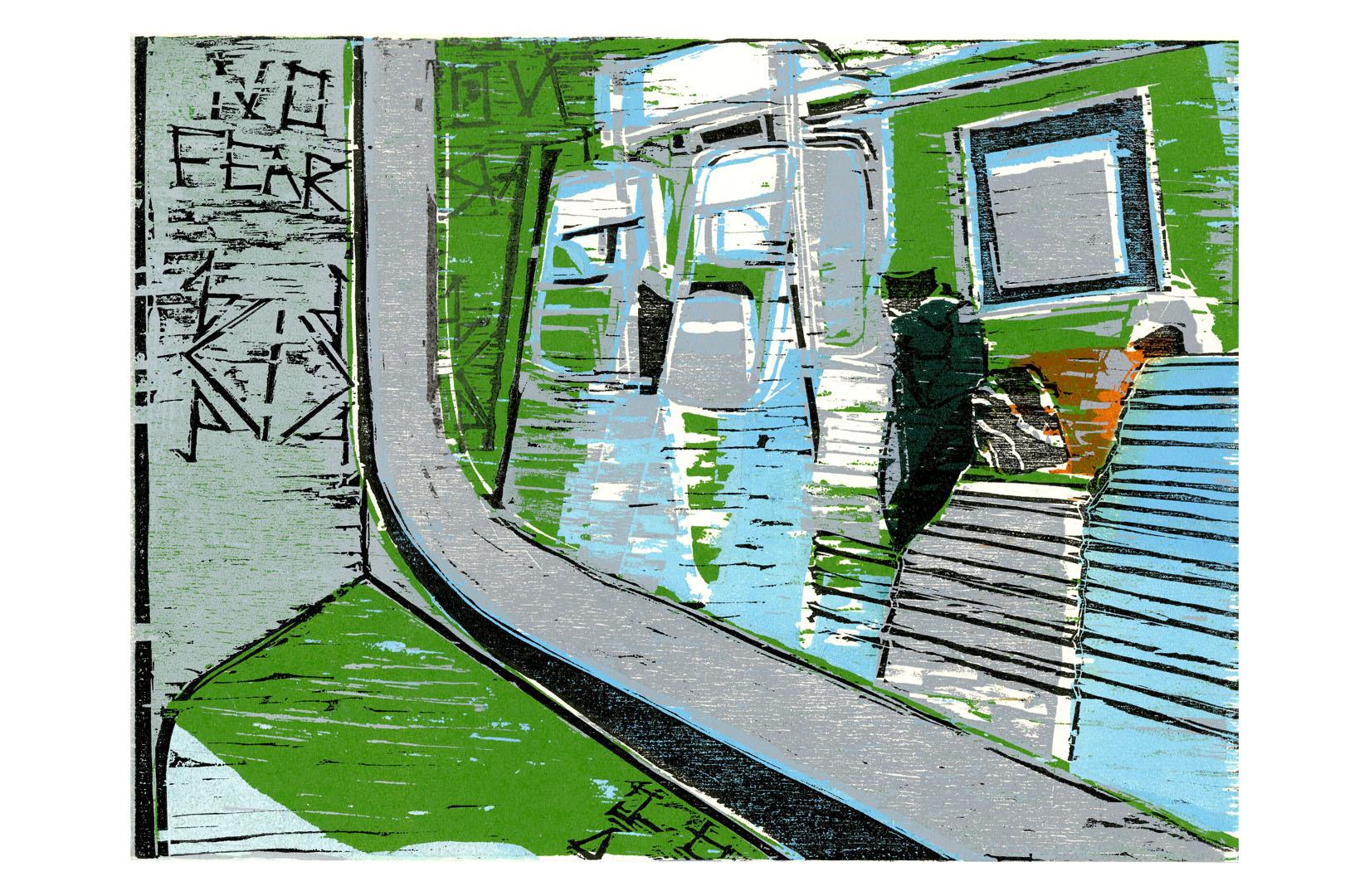 printmaking, ink, paper, 5 color print, five color print, brooklyn, nyc, new york city, brooklyn, Harlem, A train, drop print,